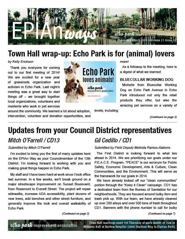 EPIAn Ways - Echo Park newsletter